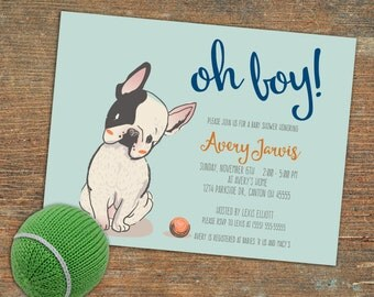 Baby boy shower Invite with puppy, customizable, printable
