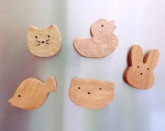 Handmade animal wooden magnets