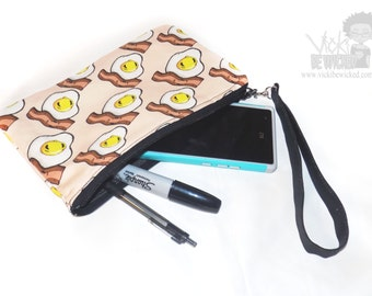 Cute Gudetama, Egg and Bacon Kawaii Food Fashion Zipper Wristlet