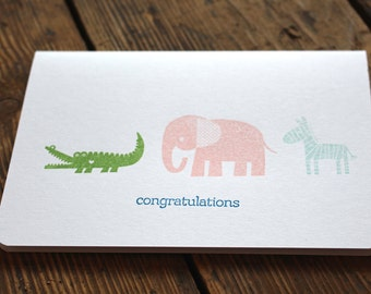 Baby card 'Congratulations' | New baby card | Handmade baby card | Congratulations baby | Congratulations baby card