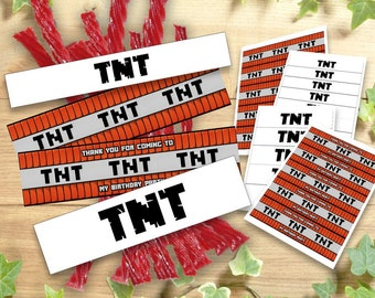 Mine Themed TNT Labels Wraps Birthday Party Printable, Wrappers Decoration Food Tent Wrap Labels Buffet Favors Stick Instant Download