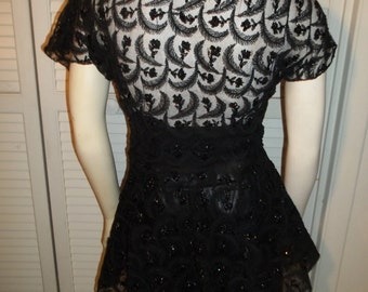 Black Sequin and Embroidered Dressy Tunic 1940's Era Size S