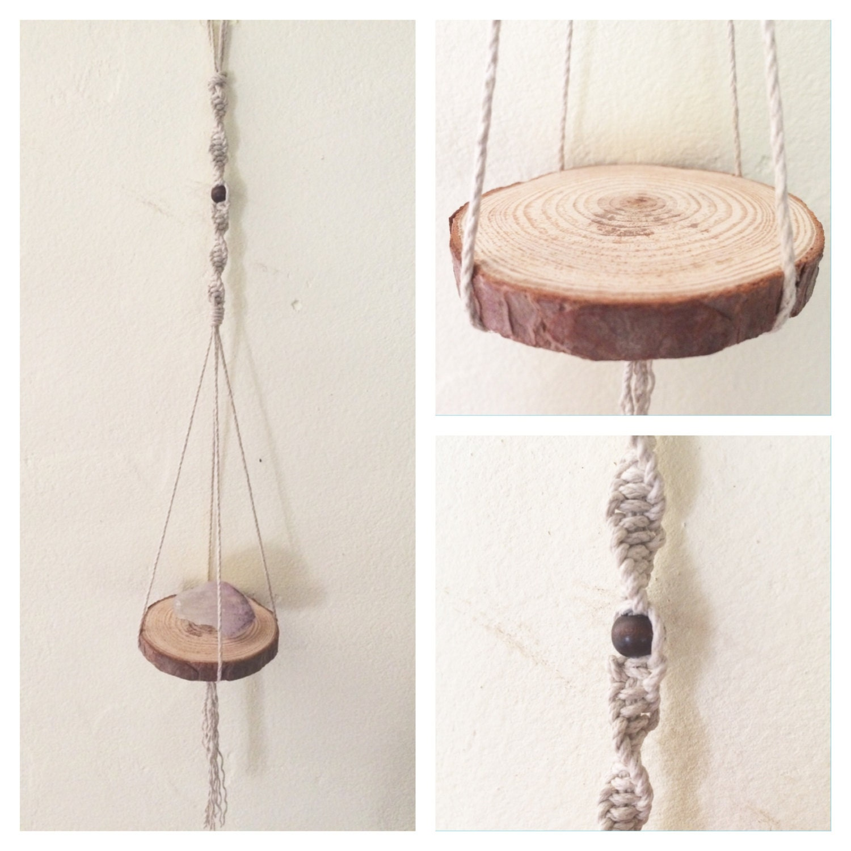macrame mini hanging shelf macrame hanging wall hanging. Black Bedroom Furniture Sets. Home Design Ideas