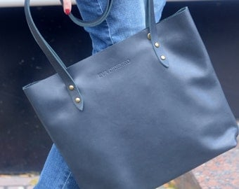 bags purses totes deep blue leather tote navy blue leather tote black leather tote matt black leather tote black leather handbag