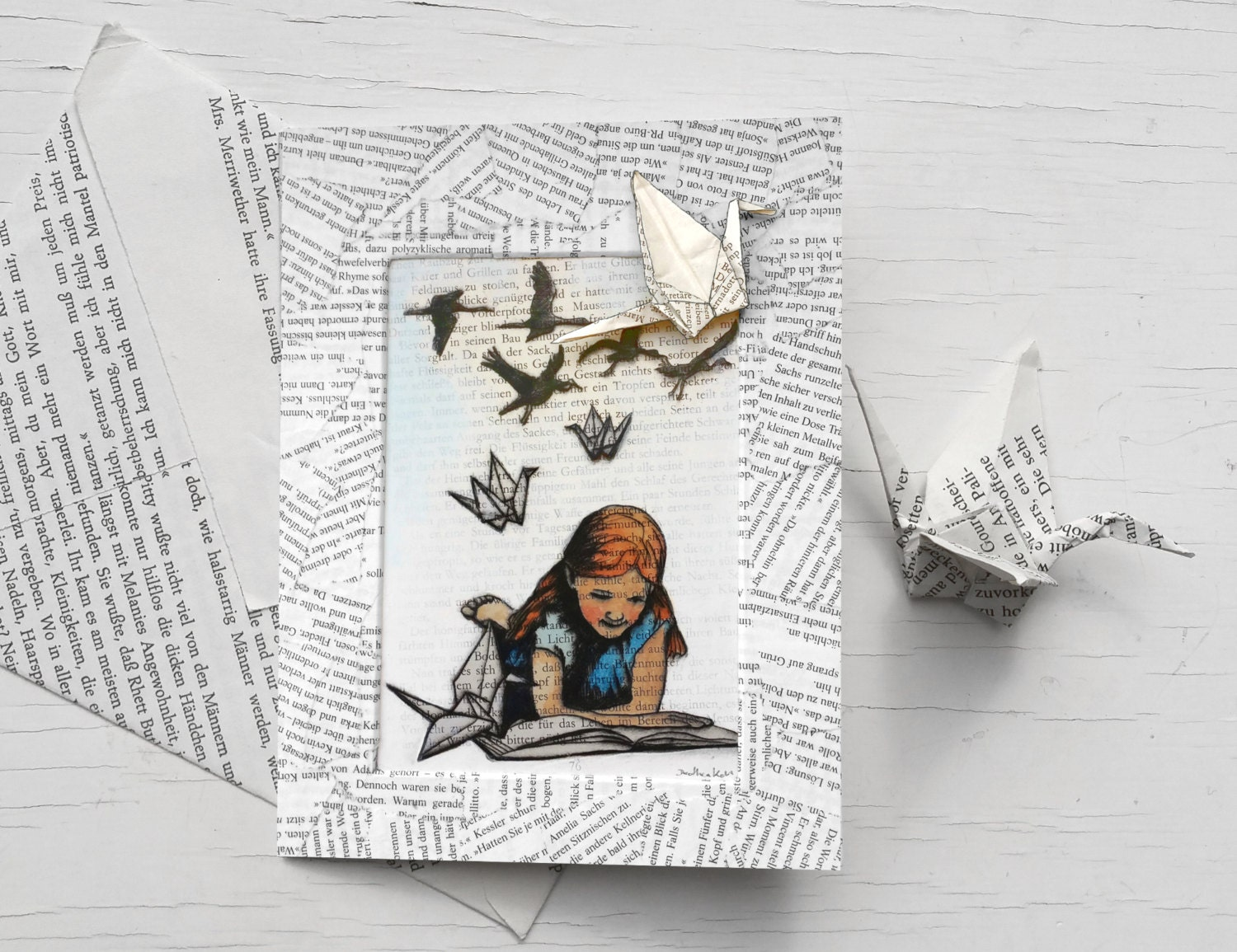 For book lovers birthday card with white paper cranes – Birthday Card Book
