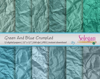 """wrinkled background """" Green And Blue Crumpled """" crumpled digital paper wrinkled texture digital scrapbook paper backdrop instant download"""