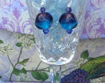 Purple and Blue Two Tone Nugget Lampglass Earrings