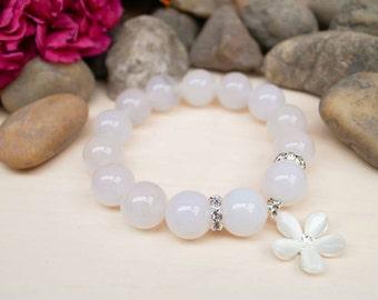 White Agate Bracelet, 14mm Agate Bracelet, White Bead Bracelet, Wedding Bracelet, Bridal Bracelet, Agate Wrist Mala, White Flower Bracelet