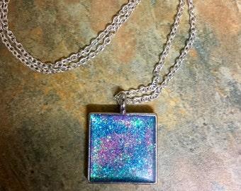 Glitter resin celestial necklace