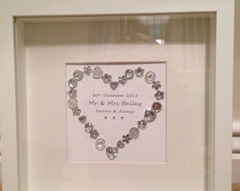 Personalised Wedding Gift Silver Sparkle Heart Mr and Mrs