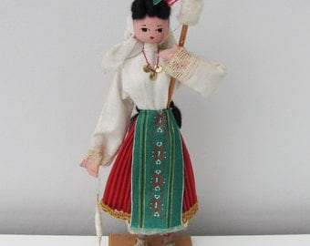 Vintage Wooden National Doll from Cyprus Retro Holiday Souvenir Spinning Folksy