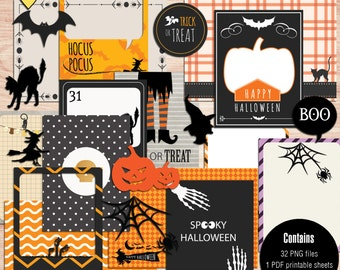 SUMMER SALE - Halloween Journal Cards - Instant Download - Printable journaling cards for Project Life and digital scrapbooking