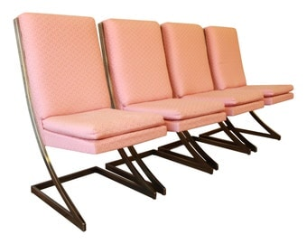 """SOLD - Milo Baughman for Design Institute of America Cantilever """"Z"""" Chairs - Set of 4 / Hollywood Regency Chairs / Brass Chairs"""