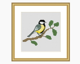 Cross stitch pattern, Modern cross stitch, The Great Tit Bird cross stitch chart, Bird cross stitch