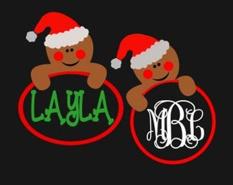 Gingerbread Cookie Monogram Frames; SVG, DXF, AI, Ps and Pdf Cutting Files for Electronic Cutting Machines
