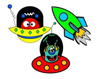Rocket and Little Space Aliens; SVG, Studio 3, DXF, AI. Ps, and Pdf, Eps Cutting Files for Electronic Cutting Machines