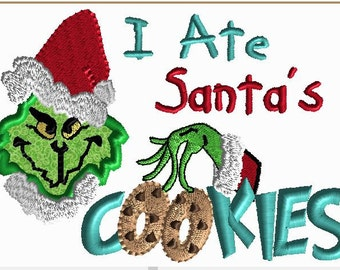 5x7 monster THAT Stole Cookies! Embroidery Design.  5x7 hoop Applique green monster with fill stitch lettering cookies for santa