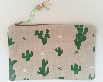 Zipper pouch /make-up bag/storage bag/small bag -cactus
