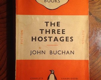1953 Vintage Penguin book, The Three Hostages by John Buchan, fiction, literature, novel