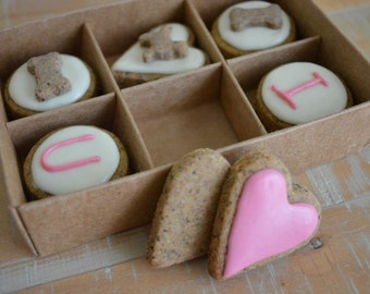 Valentine's Day dog treats - I love U - Box of 12 PupBiscuits - grain free