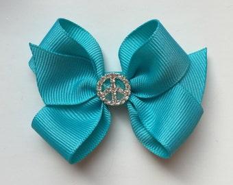 Girls hair bow, hair clip, baby hair bow, bling bow, turquoise hair bow, blue hair bow, blue bow, toddler bow, crystal bling bow, girls bow