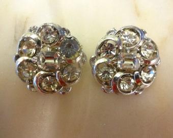 Vintage Rhinestone Crystal Clip on Earrings