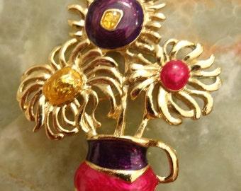 Vintage Large Gold Enamel Flower Brooch
