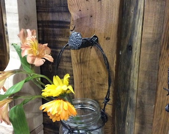Rustic flower holder, bud vase, Wall Decor, wall hangings, mason jar flower holder, handmade