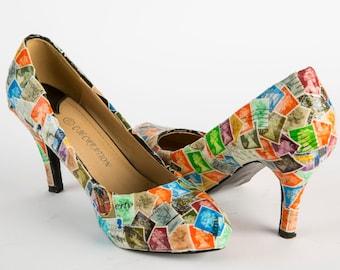 Decoupage-Schuhe, benutzerdefinierte gestaltete Schuhe, Queen Elizabeth, geschlossen Zehe, Pumpen, Plateau Heels, Ballerina Schuhe, Muttertag, Geschenk für Mama