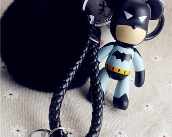 cool bear keyring black puffs fur ball leather rope keychains cute women car accessories keys holder key ring