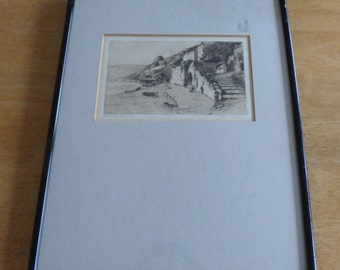 A Simes, Signed Etching, 'Clovelly Harbour' Framed & Glazed
