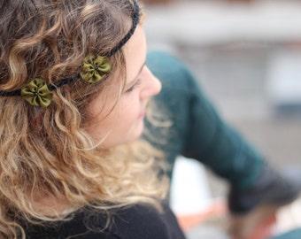 Headband Bohemia - small flowers on basis of cotton khaki satin black tie - handmade.