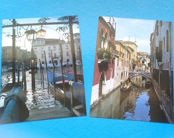 Pair of Venice Postcards/Venezia/Gondola and Traghetto/ Venice Canals/Vintage Italian  Postcards - 1992