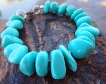 Chunky Large Turquoise Bracelet