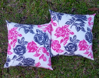 Black and Pink Pillow Covers 16x16 Set of Two Rose Pillows Decorative Throw Pillows Button Pillow Envelope Pillow Covers Made in Hawaii