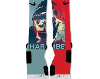 Custom Nike Elite Sock Harambe The Gorilla Poster