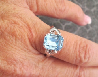 Vintage  Blue Topaz Ring, sizes 5 thru 8 available, never worn