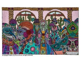 Art Print Day of the Dead The Masquerade–La Mascarada 12 x 16 Sugar Skull