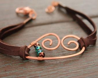 Bracelet, Heart Bracelet, Bohemian Bracelet, Boho Chic, Copper Bracelet, Copper Wire Bracelet, Brown Leather Bracelet