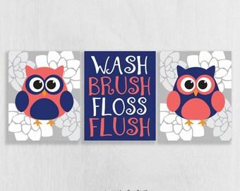 CANVAS Owl Bathroom Decor Set of 3 - Owl Wall Art - Coral and Navy Bathroom Decor - Bathroom Rules - Bathroom Art Girl