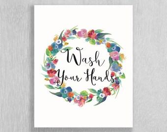Bathroom Art - Floral bath Art - Wash Your Hands - Bathroom Decor - Bathroom Wall Art - Floral Bathroom - Watercolor Bathroom Art