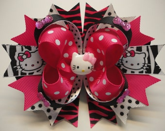 "HELLO KITTY  Boutique Stacked Hair Bow  W 5.0"" x  L 4.5"" x H 2.0"""