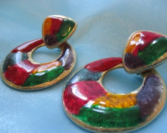 Crazy Cool Vintage Mulitcolored and Gold Toned Earrings