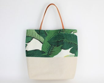 Strandtasche Shopper Tropical Palm Leaf/ Leinen Canvas/ Lederträger