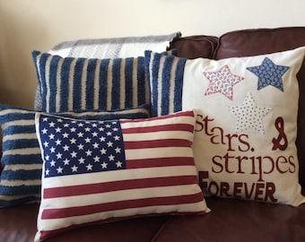 American Flag Pillow, star and stripe pillow,Throw Pillow, Decorative Pillow,Traditonal Americana Flag Pillow, Patriotic Pillow, fits 12x18