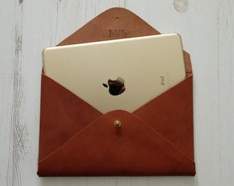 MONOGRAM iPad mini leather sleeve - handmade custom tablet cover - Dark Tan