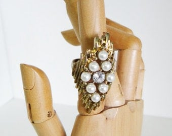 Vintage Statement Ring, Gold Tone Cocktail Ring Faux Pearls And Crystal Bark Texture Circa 1970s UK Size Q 1/2 US 8 1/4