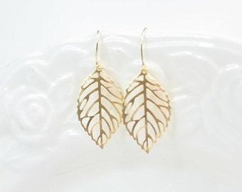 Gold Ohrringe: Gold Blatt Ohrringe