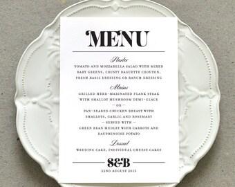Printable Wedding Dinner Party Menu PDF / 'Bold Strokes' Modern Typography Menu / Black and White or Custom Colours