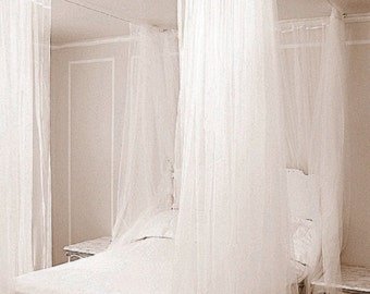 Bed Canopy - Custom Hanging Bedroom Curtains and hardware - Elegant Four Poster Bed Princess Canopy Drapes - Canopy Kit for Any Bed sheers